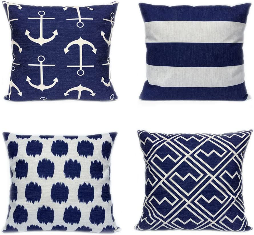 FanHomcy 4 Pack Cushion Covers Simple Geometric Decorative Throw Pillow Cases for Sofa 18 x 18 Inch, 1x Anchors + 1x Dots + 1x Stripe + 1x Shakes (Navy Blue)