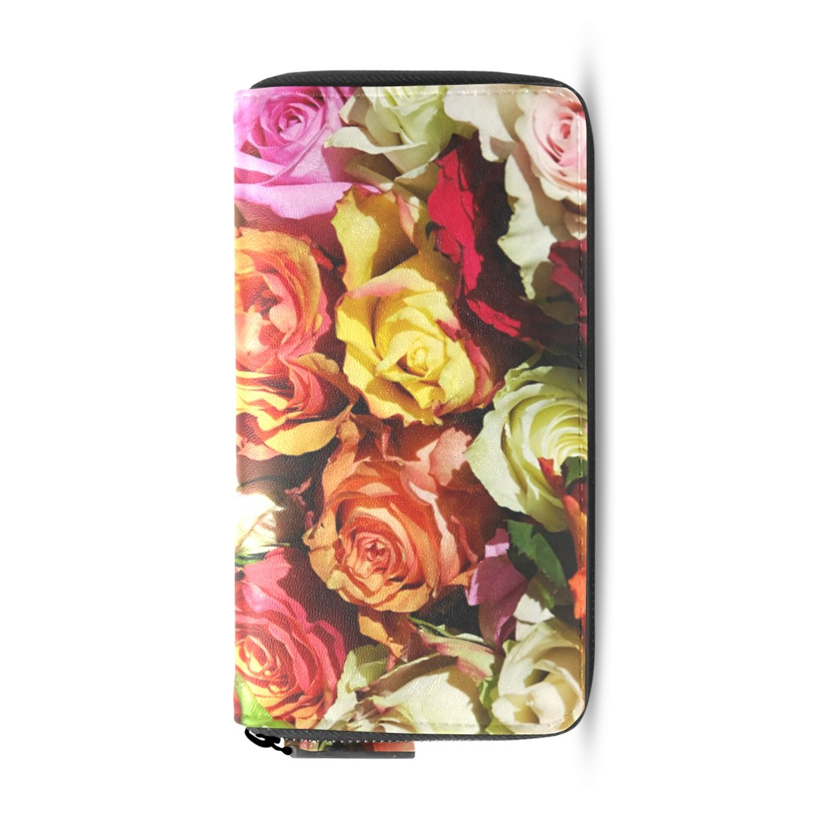 Ethel Ernest Colorful Roses Flowers PU Leather Card Cash Coin Wallets Zipper Clutch Purse For Womens