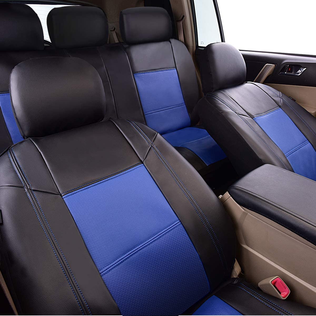 NEW ARRIVAL- CAR PASS Skyline PU LEATHER CAR SEAT COVERS 6PCS, ELEGANT BLACK WITH BEIGE UNIVERSAL FIT FOR CARS,SUV,VEHICLES 5mm Composite Sponge Inside,Airbag Compatible by CAR PASS