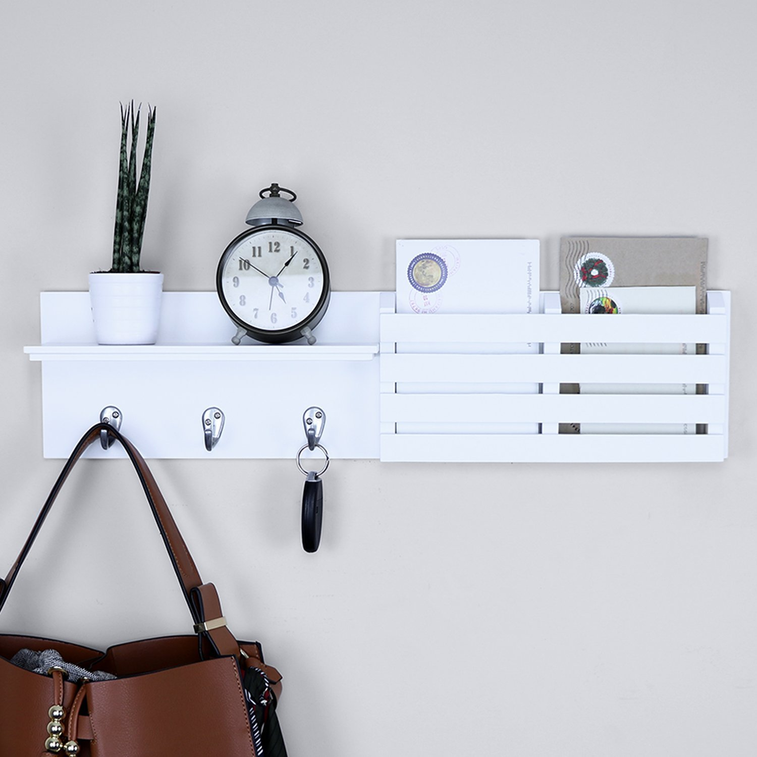 Ballucci Mail Holder and Coat Key Rack Wall Shelf with 3 Hooks, 24'' x 6'', White