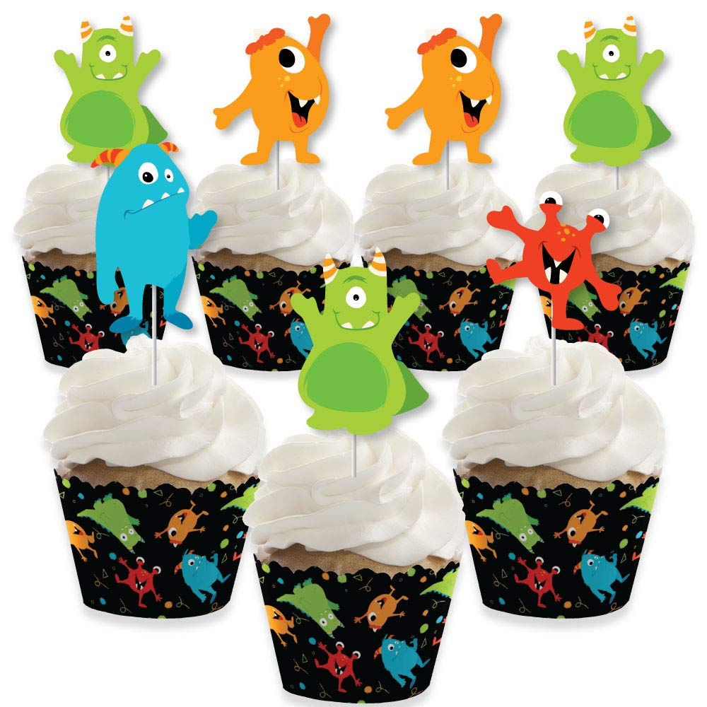 Monster Bash - Cupcake Decoration - Little Monster Birthday Party or Baby Shower Cupcake Wrappers and Treat Picks Kit - Set of 24 by Big Dot of Happiness