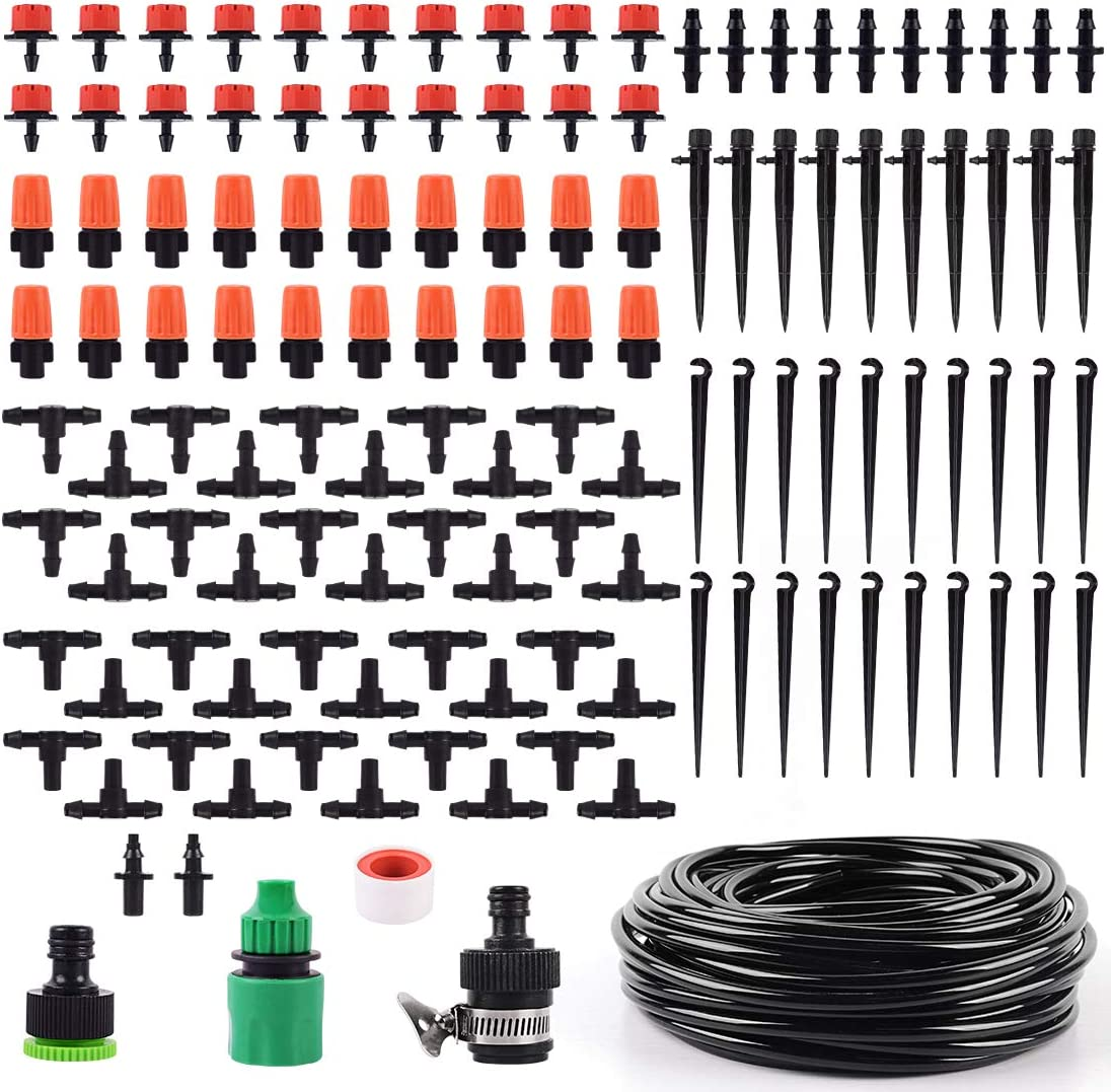 ZNCMRR DIY Garden Drip Irrigation Kit, Automatic Plant Watering System Saving Water Sprinkler System Device, 1/4'' 65.6Ft Distribution Tubing Hose for Greenhouse, Flower Bed, Patio, Lawn