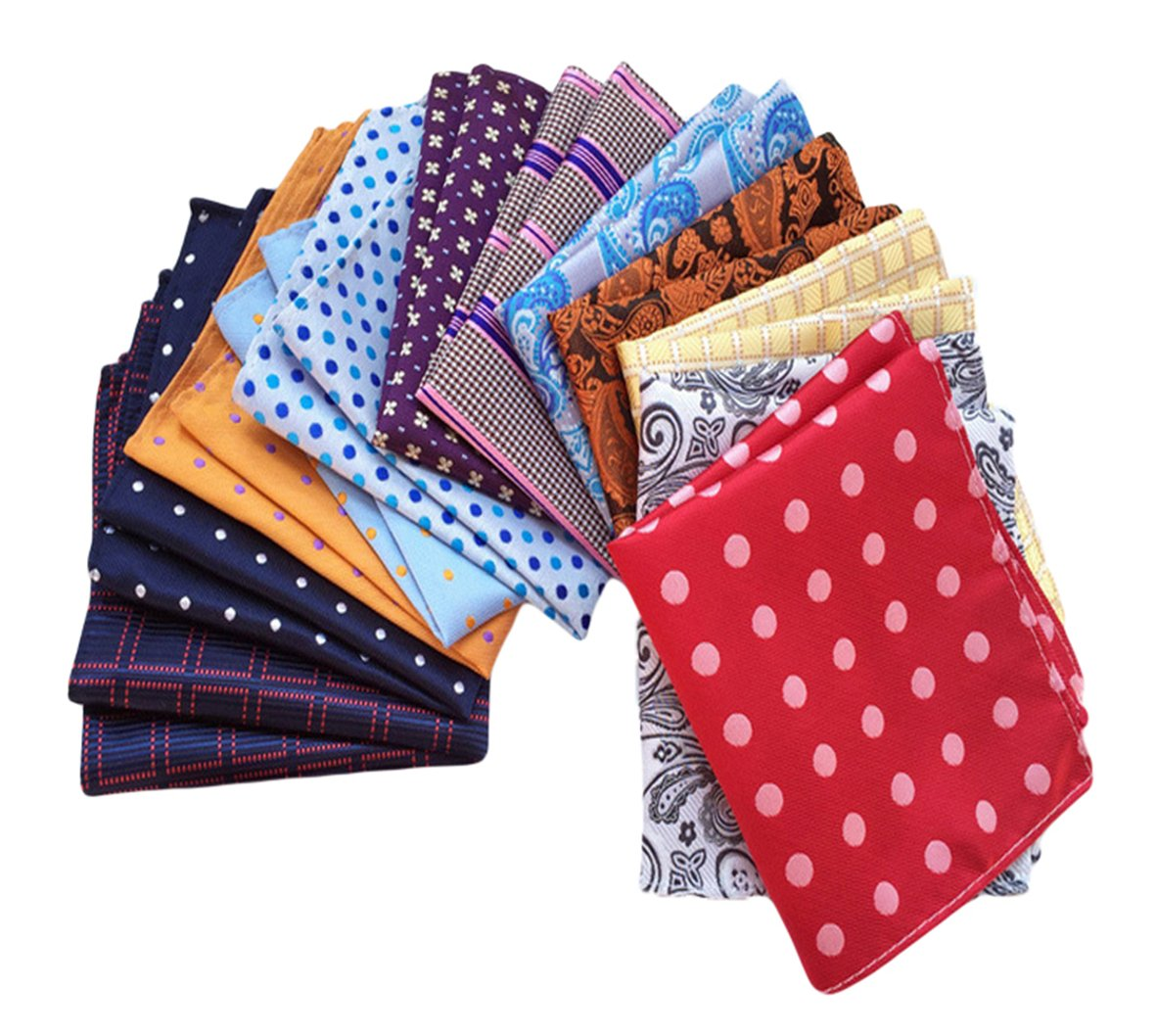 MENDENG Men's 12 Pack Paisley Plaid Polka Dot Handkerchief Vintage Pocket Square ENG0840