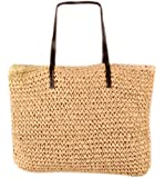Bronze Times (TM)Womens Casual Extra Large Straw Weave Beach Tote Shoulder Bag