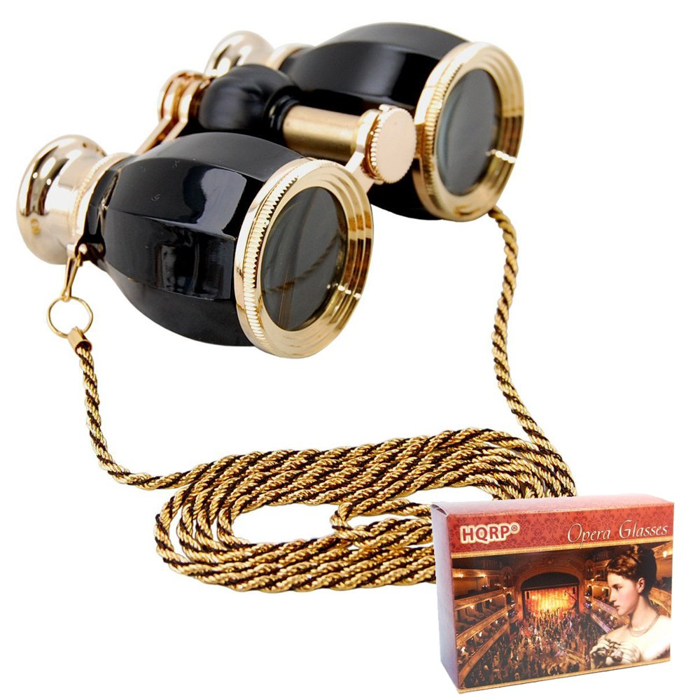 HQRP Opera Glasses Antique Style in Elegant Black Color with Gold Trim with Crystal Clear Optics (CCO) w/Necklace Chain