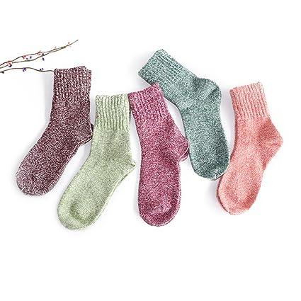 Pixnor las mujeres Cachemira gruesa cálido suave sólido Casual deportes calcetines de lana, 5 pares