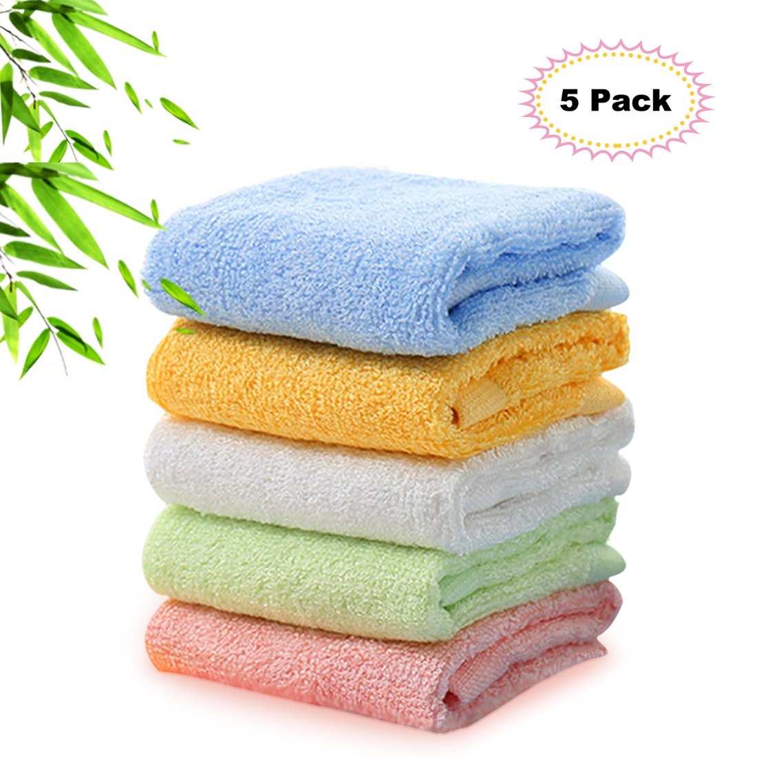 Kyapoo Bamboo Baby Washcloths Natural Organic Towels Ultra Soft Hypoallergenic Perfect for Sensitive Skin Reusable Wipes 5 Pack