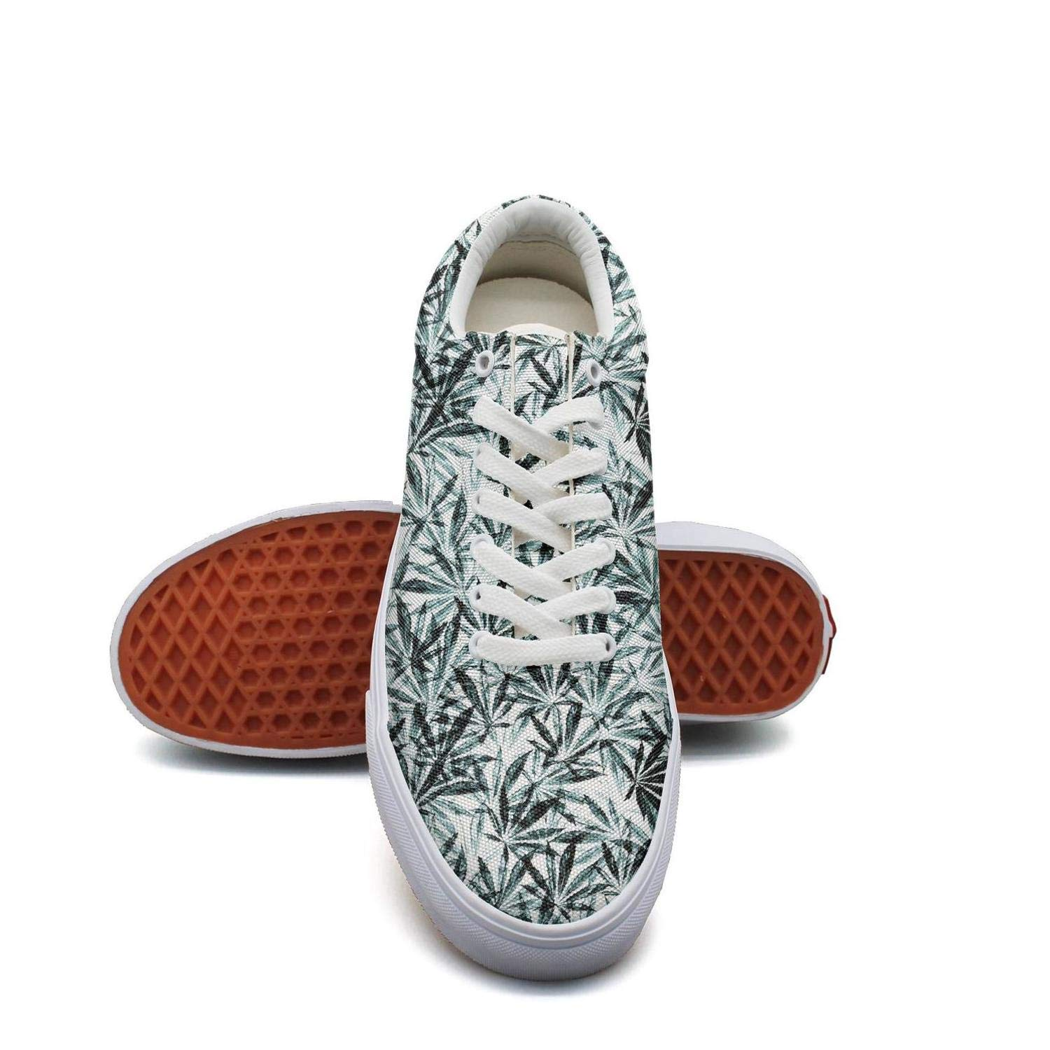 Opr7 White Green Cannabis Leaf Women Lace-Up Skate Shoes Canvas Upper Loafer Breathable