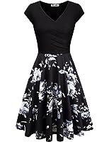 KASCLINO Women's Floral Printed Dress, A Line Cap Sleeve V-Neck Elegant Dress With Pockets