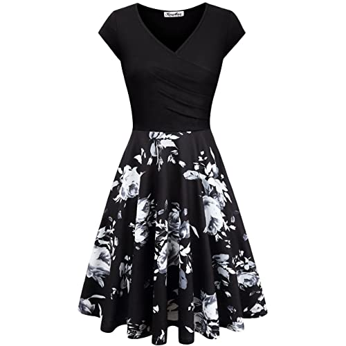 KASCLINO Womens Floral Printed Dress, A Line Cap Sleeve V-Neck Elegant Dress with