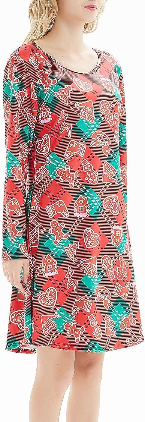 TWKIOUE Womens Christmas Dress Long Sleeve Print Xmas Casual Dress