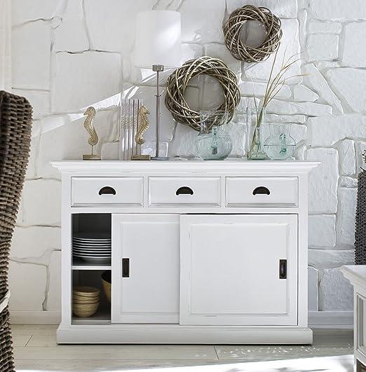 Albion blanco pintado muebles de comedor de caoba Buffet con Puertas correderas: Amazon.es: Hogar