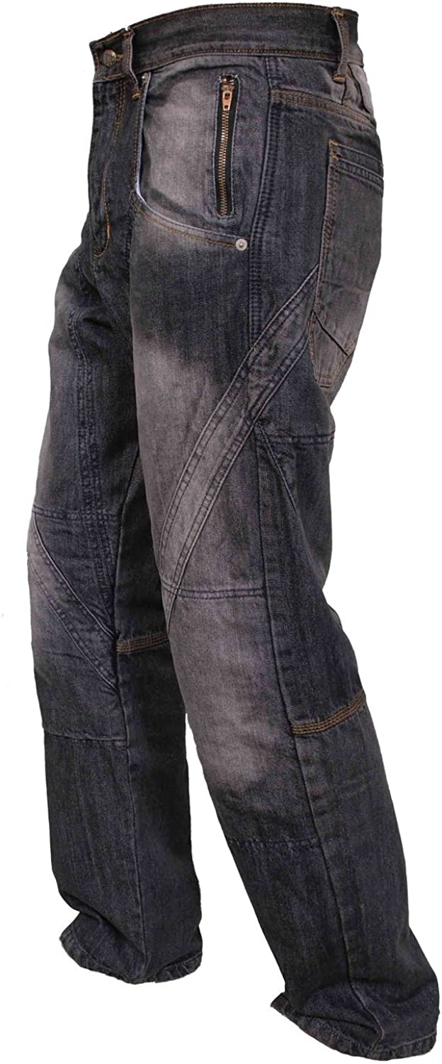 Newfacelook Mens Denim Motorcycle Motorbike Armour Jeans Trousers With Aramid Protection Lining