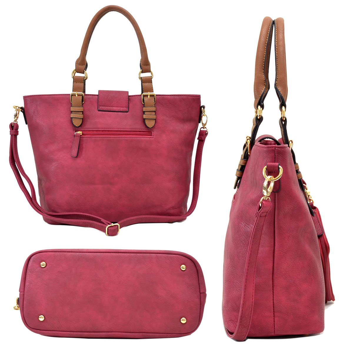 MMK collection Fashion handbag~Classic Tote bag~Holiday gift purse with Wallet~Beautiful Handbag wallet set~Crossbody handbag (MA-07-6717-BK/CF) by Marco M. Kelly (Image #7)