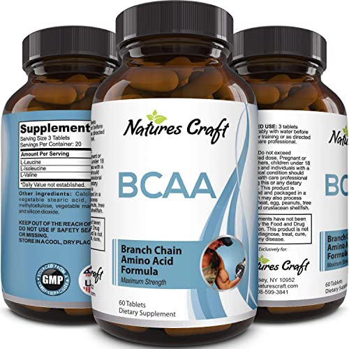 Natures Craft's BCAA Branched Chain Amino Acids Supplement Natural Muscle Builder Pure Energy Booster and Workout Exercise Support