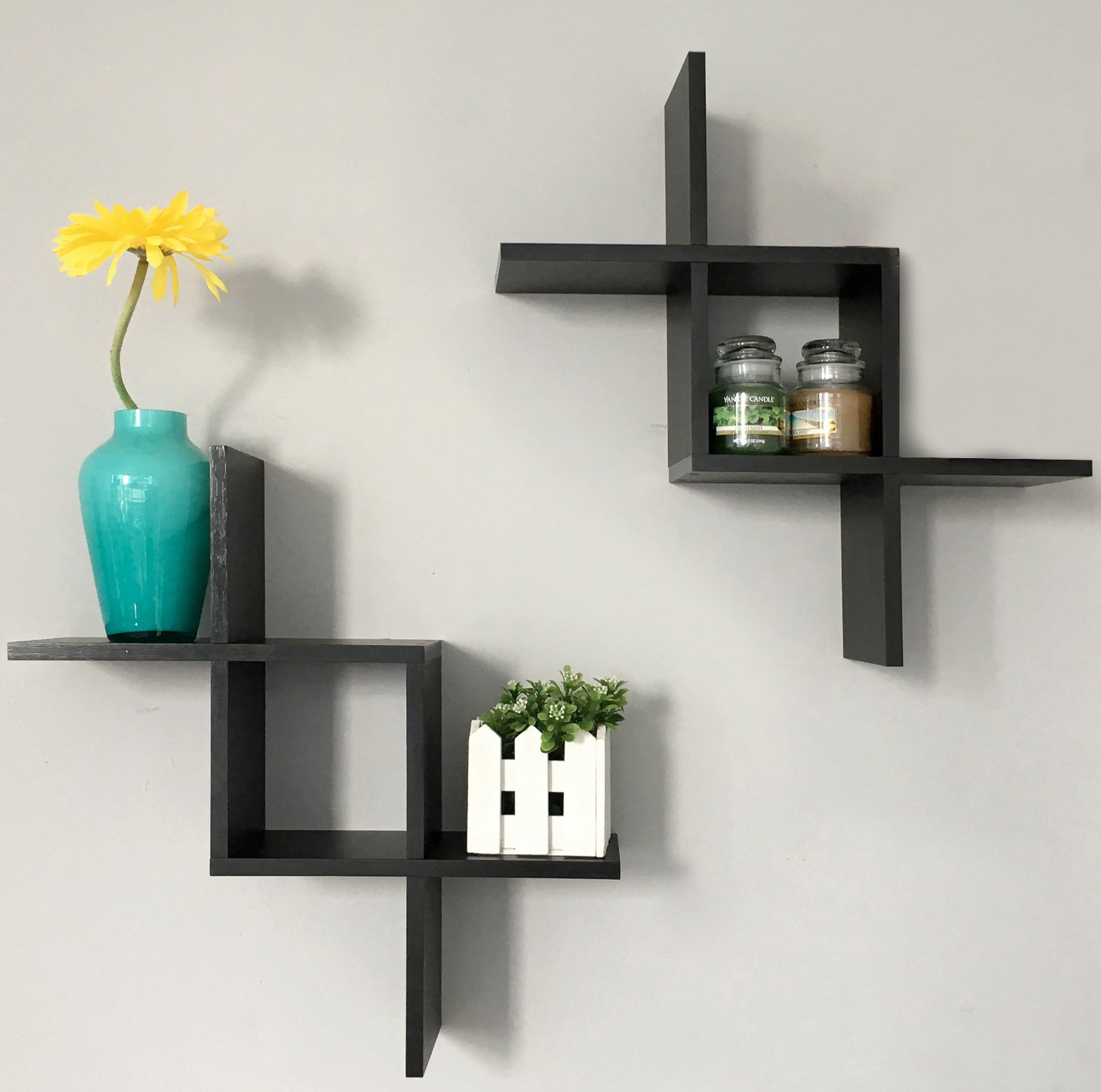NEW Decorative Floating Wall Shelves Espresso for Living Room Office ...