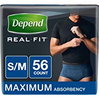 Depend Real Fit Incontinence Maximum Absorbency Briefs for Men, Small/Medium, Blue, 56 Count