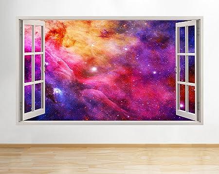 b000 Nebula Stars Moon Earth Planets Pink Purple Wall Decal Poster ...