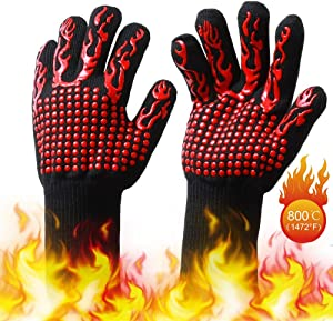 Andier Max Heat Resistant Silicone Cooking and BBQ Grill Gloves - Perfect for Protecting Your Hands from Hot Ovens, Boiling Water and More. Dishwasher Safe, Manual, Black