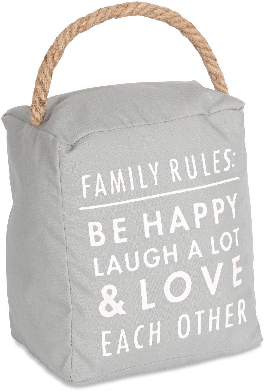 Open Door Décor Door Stoppers Family Rules: Be Happy Laugh a Lot