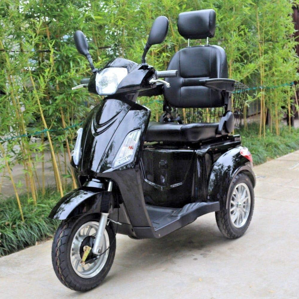 Green Power Scooter electrico de Movilidad Reducida Triciclo/Scooter Nuevo estabilidad 60V100Ah 800W Velocidad Hasta 25 km/h Negro Brilloso