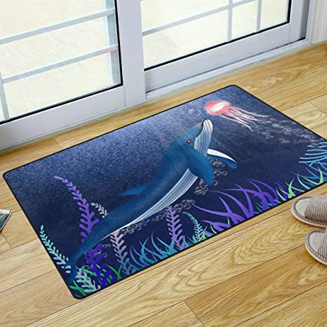 Amazon Com S Husky Whale Sea Jellyfish Doormat Aesthetic Fantasy Welcome Doormat Non Slip Carpet Outdoor Front Rug For Entry 31 X 20 In 2040816 Kitchen Dining