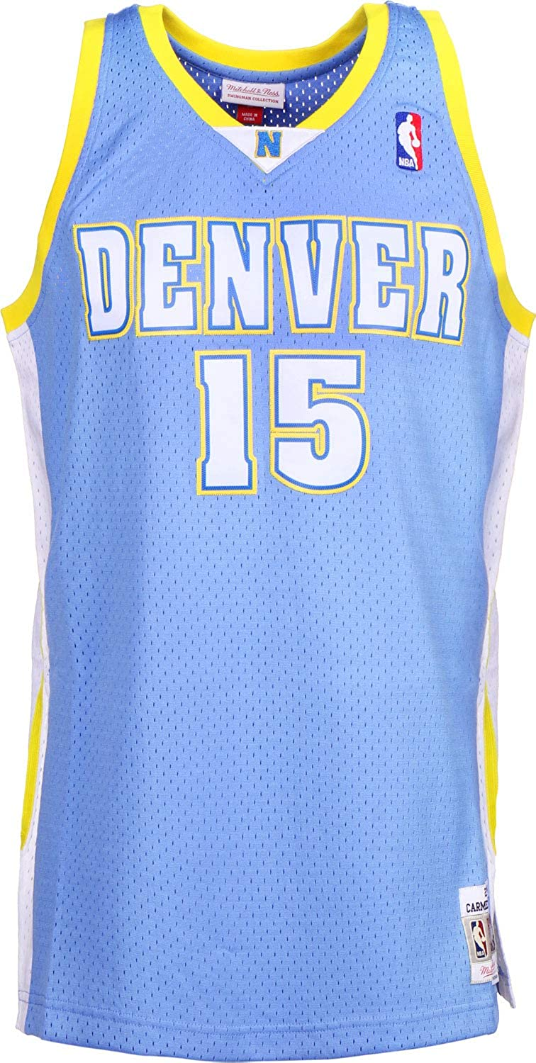 new product e0a62 fd4d4 Amazon.com: Mitchell & Ness Carmelo Anthony 15 Denver ...