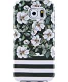 Galaxy S7 Case, Dimaka Cute Floral Flower PC Cover with Shock Proof Protective TPU Bumper[Slim and Sturdy][2 Layers][Print Designed Pattern for Girls] for S7 Camellia Eden Stripes