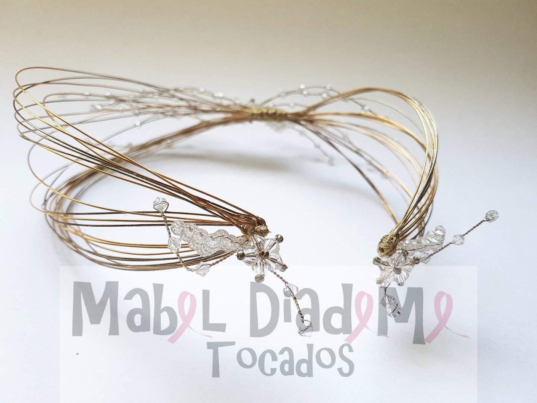 bfbf48cda Mabel Diademe Tocado diadema corona novia madrina invitada comunión  festival bodas eventos glamour evento dia noche  Amazon.es  Handmade