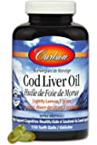 Carlson labs Norwegian Cod Liver Oil Lightly Lemon Gems Rich in Omega-3's 1000mg,150 soft gel