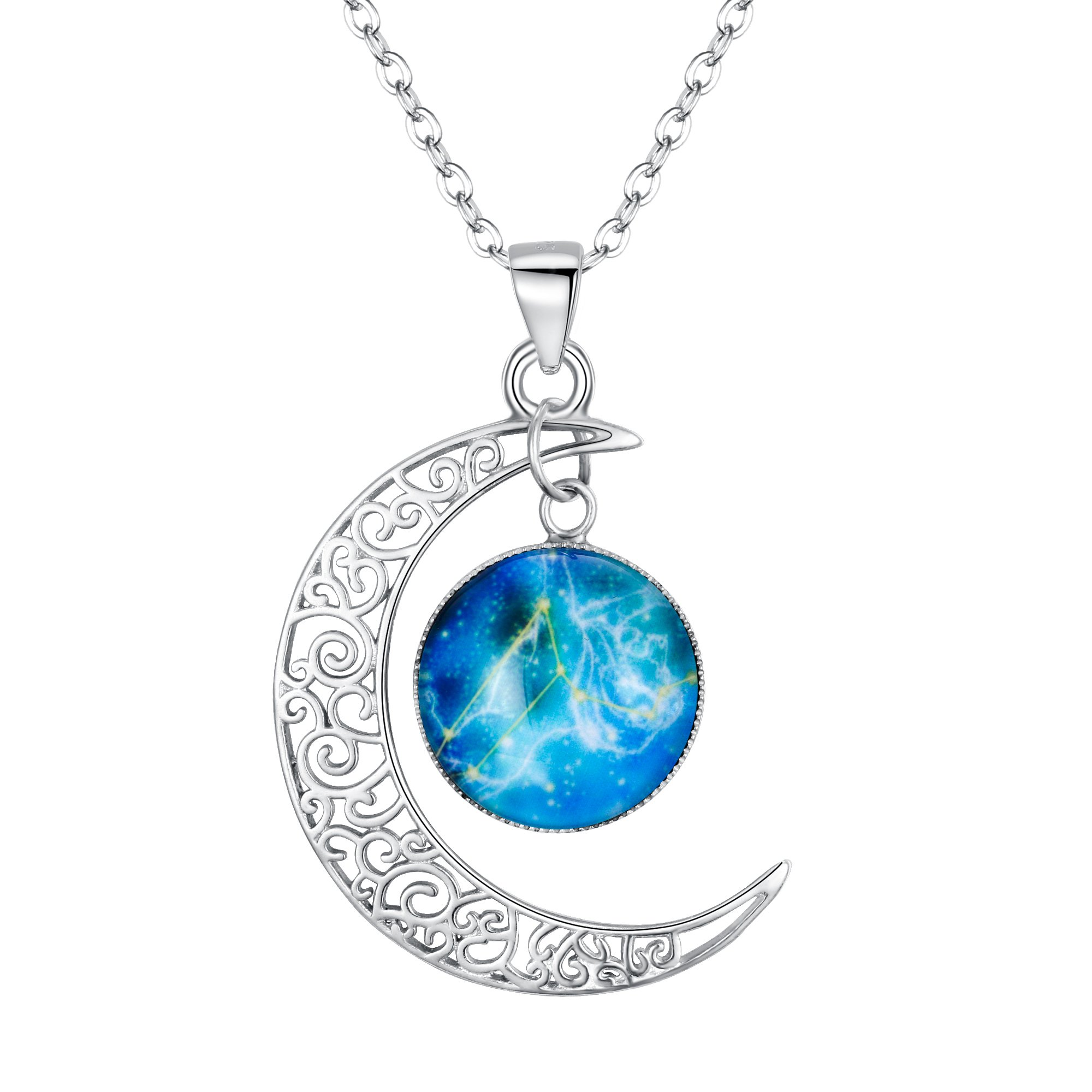 BriLove Women 925 Sterling Silver Galaxy Crescent Moon Pendant Necklace -''Leo'' Horoscope Zodiac 12 Constellation Astrology Glass Bead Necklace
