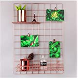 """Nugoo Wall Grid Panel for Photo Hanging Display and Wall Decoration Organizer, Multi-Functional Wall Storage Display Grid, 5 Clips and 4 Nails Offered, Set of 1, Size 25.6"""" x 17.7"""", Rose Gold"""