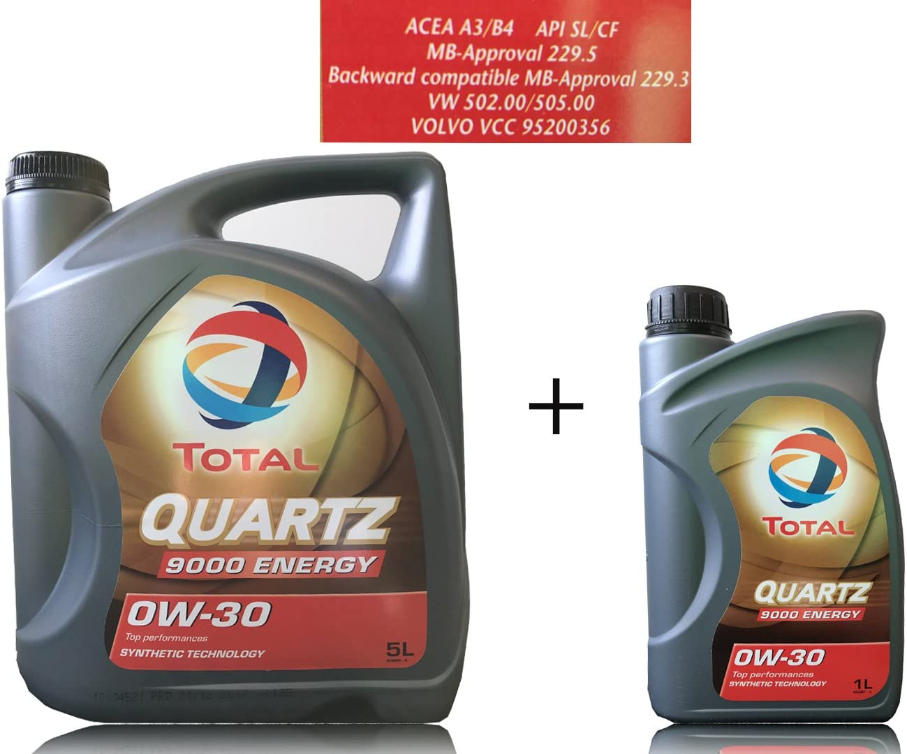 6 Liter MotorÖl Total Quartz 9000 Energy 0w 30 Auto