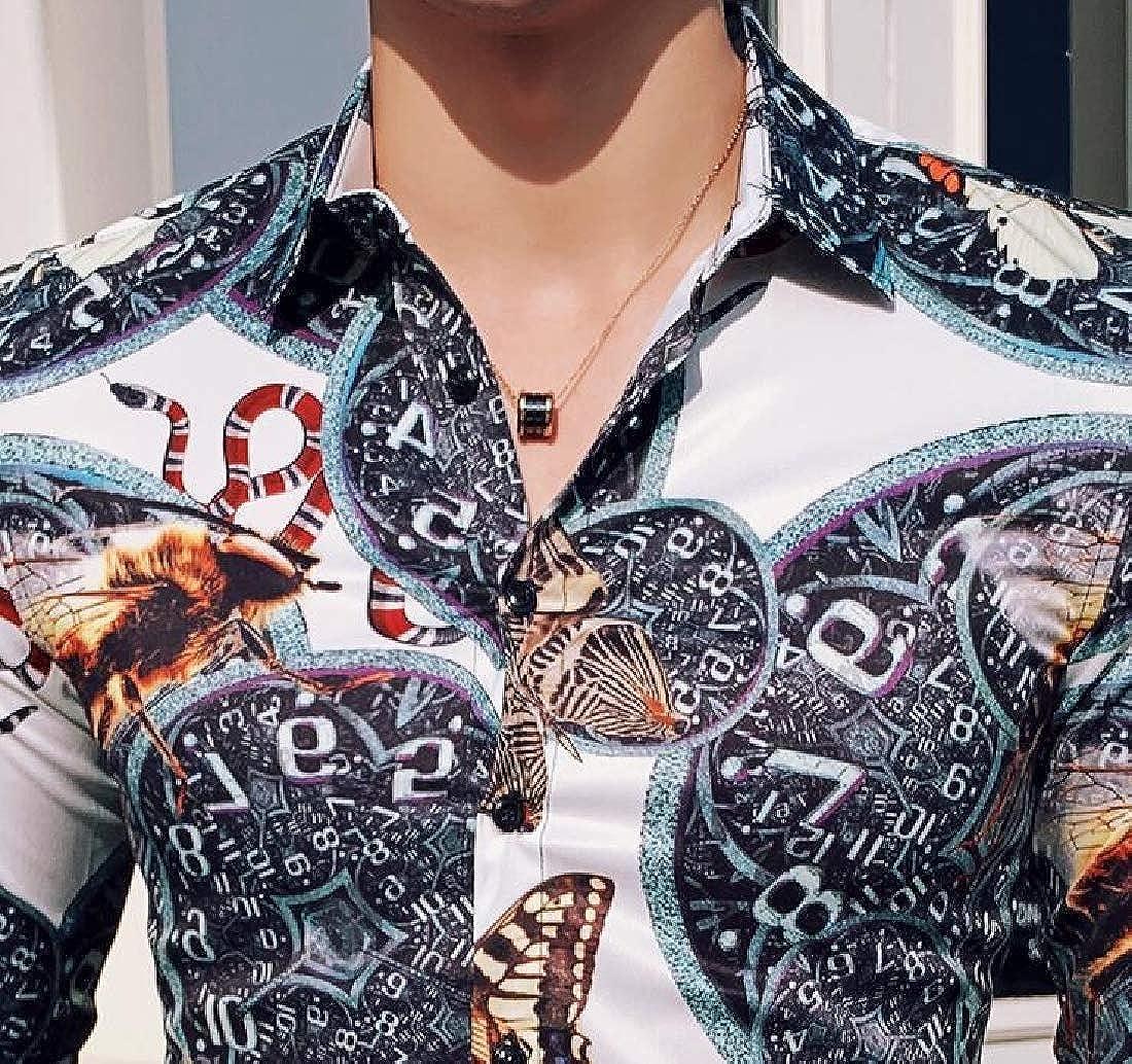 X-Future Mens Slim Fit Stylist Work Long Sleeve Floral Print Trendy Button Down Dress Work Shirt