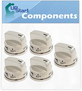 5-Pack Gas Range Knob Replacement for LG EBZ37189611 Compatible with LG LRG30355ST, LG LRG30357ST, LG LRG30855ST Gas Range (Non Super Boil)