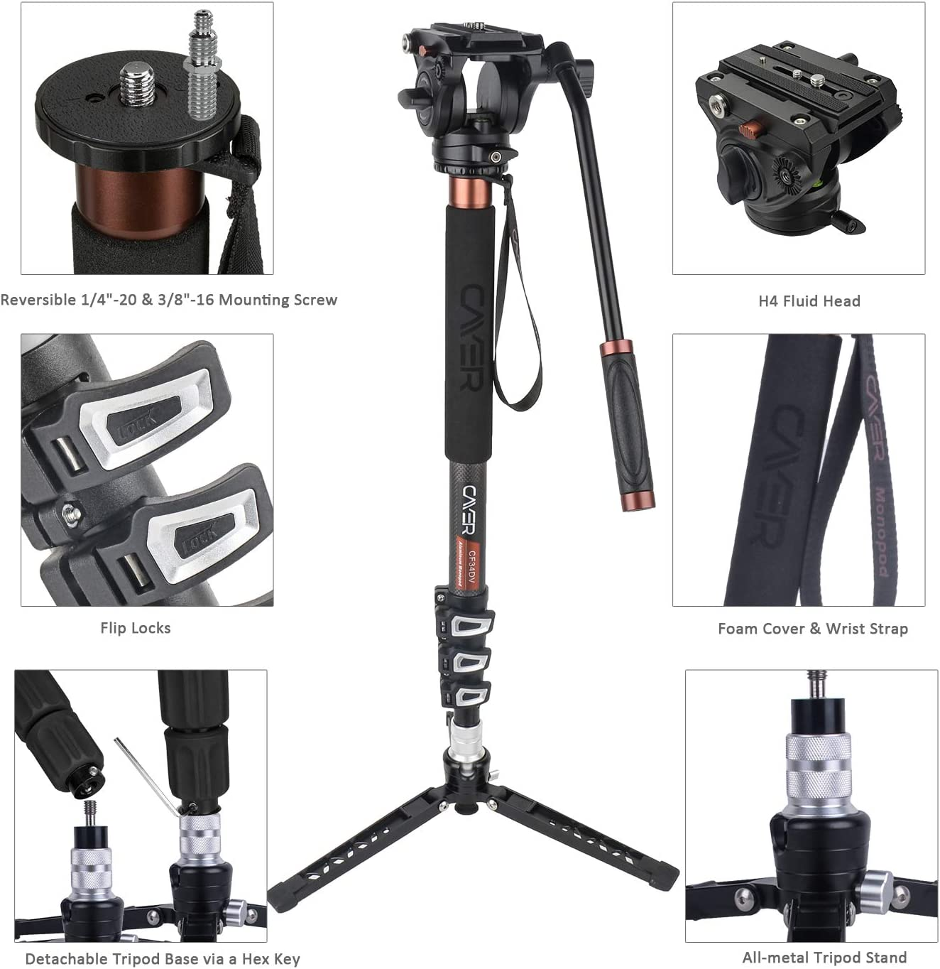 71 inch Professional Telescopic Video Monopods with Video Fluid Head and Folding Support Base for DSLR Video Cameras Camcorders Cayer CF34 Carbon Fiber Camer Monopod Kit Plus 1 Extra Sliding Plate