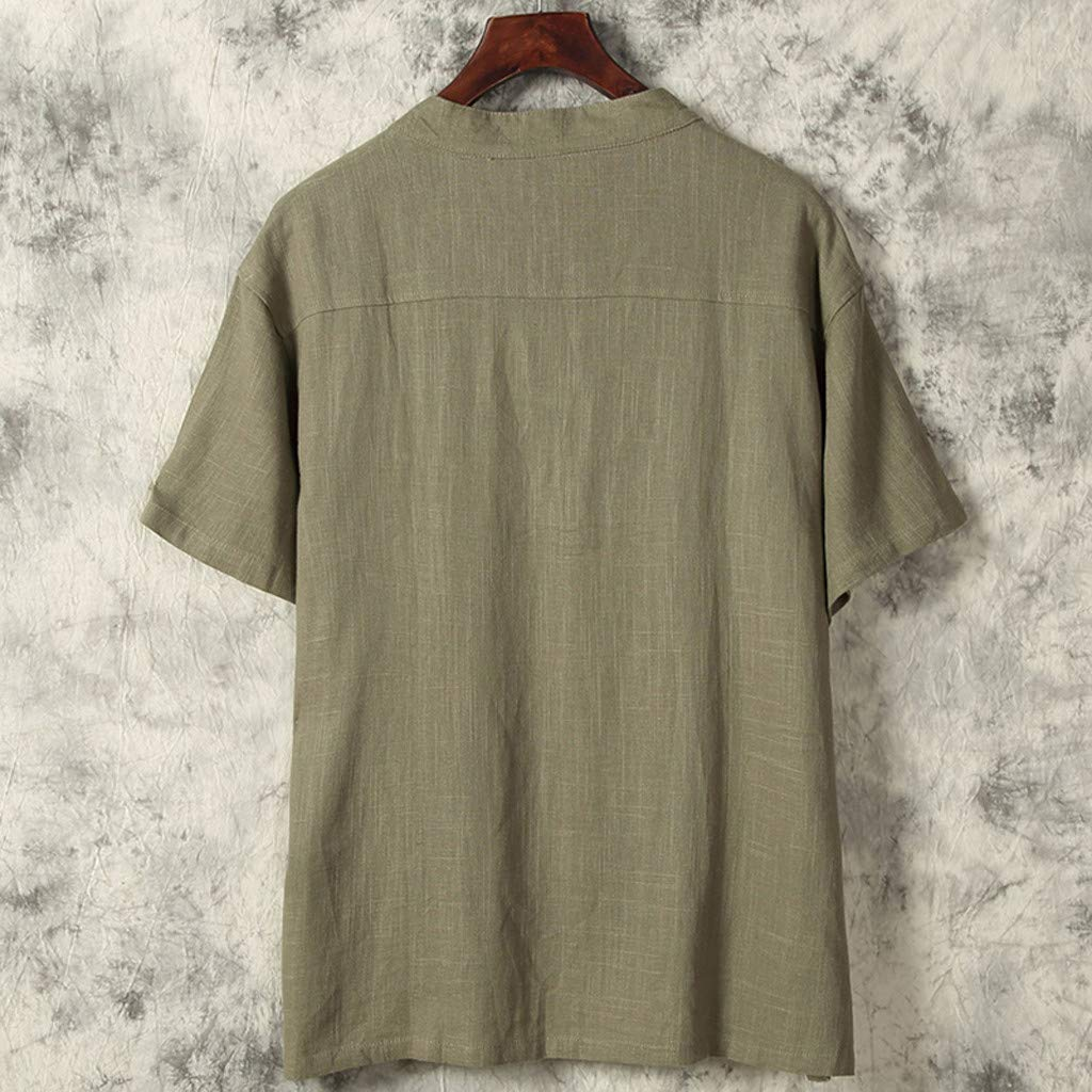 Mens Summer Ethnic Style Cotton Linen Pure Color Short Sleeve T-Shirts Tops