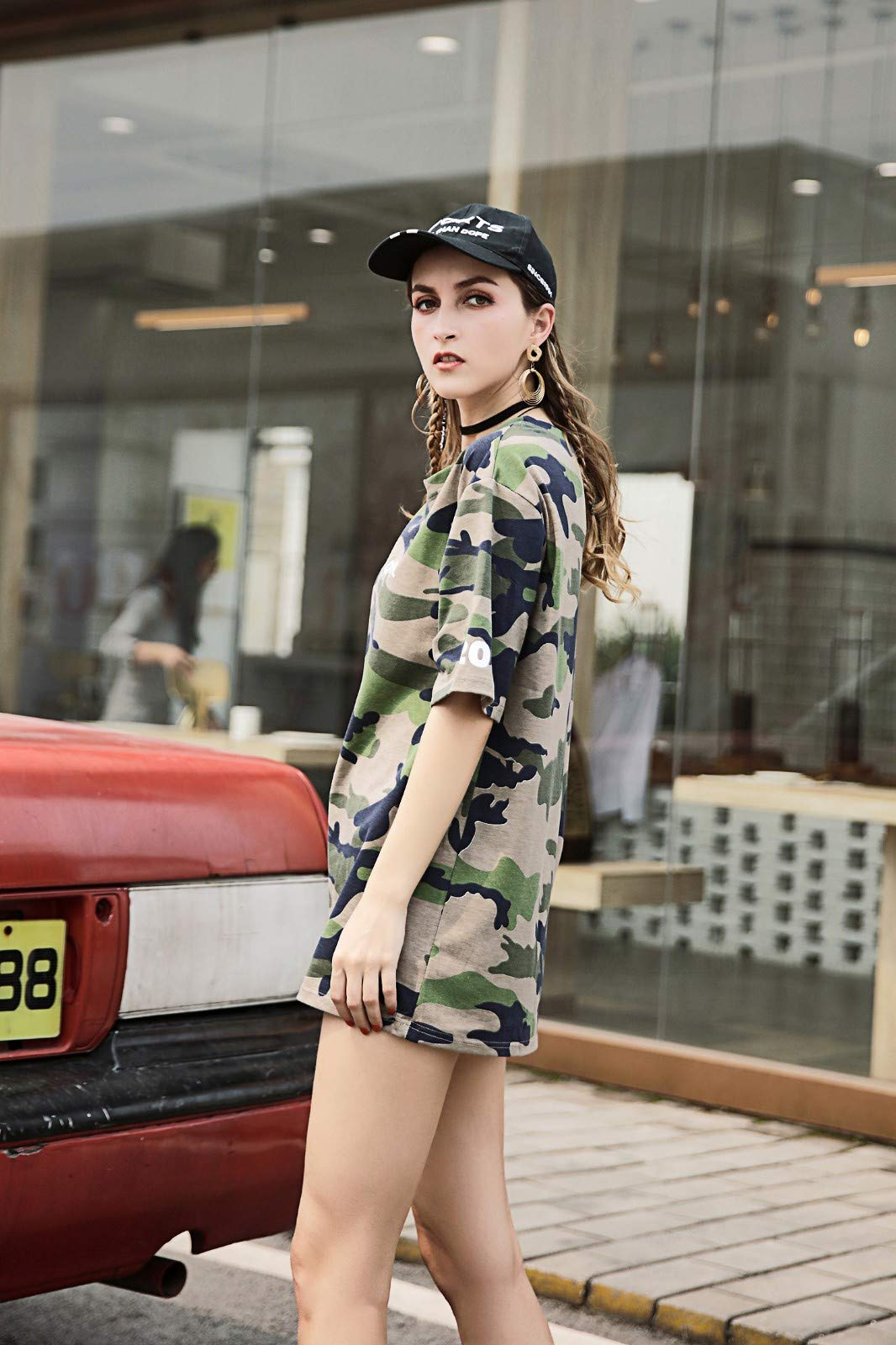 Women Lady's Casual Camouflage Printed Short Sleeve T-Shirt Tops Camis Tunics Blouse