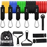 Whatafit Resistance Bands Set (11pcs), Exercise Bands with Door Anchor, Handles, Waterproof Carry Bag, Legs Ankle Straps for