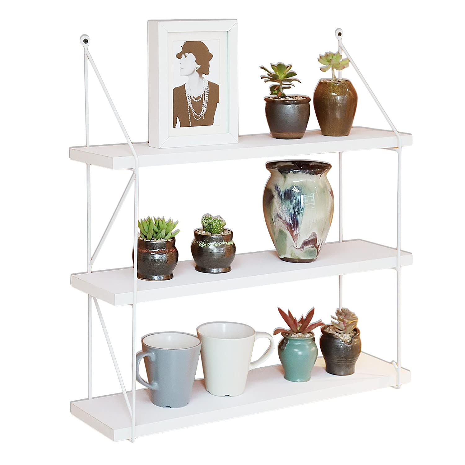 WELLAND 3-Tier Display Wall Shelf Storage Rack Wall Rack Holder Rack, White WSV103-240 White...