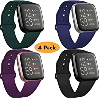 Coperr 4 Packs Bands Compatible with Fitbit Versa/Fitbit Versa 2 / Fitbit Versa Lite for Women and Men, Soft Silicone…