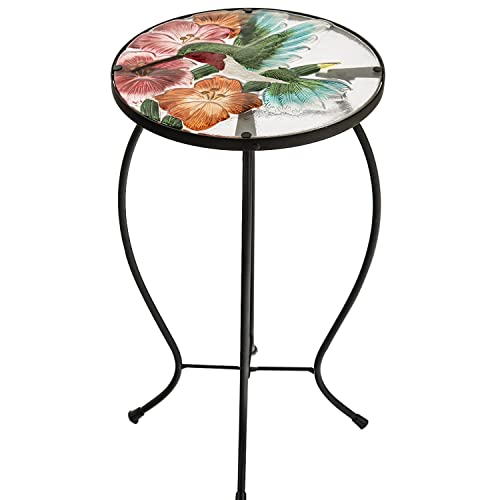 CEDAR HOME Side Table Outdoor Garden Patio Metal Accent Desk with Round Hand Painted Glass