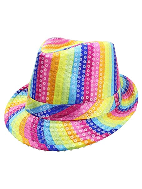 03135a3947a Image Unavailable. Image not available for. Color  Rainbow Striped Sequin  Fedora Hat