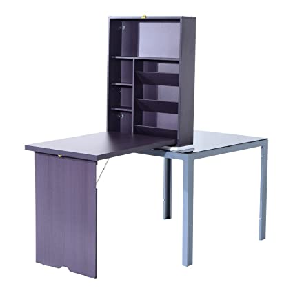 Charmant Stylish Fold Out Convertible Home Office Desk With Multi Storage Shelf With  Ebook