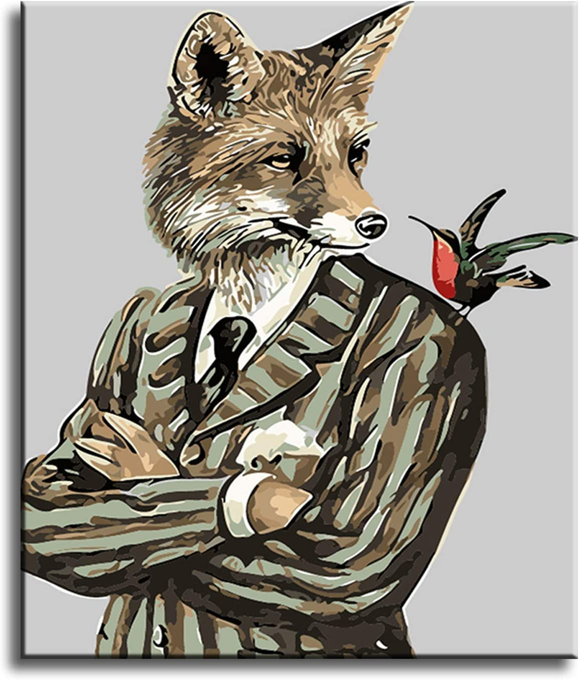 Acrylic Painting Fox 16X20 Inch Frameless Adults Paint by Number Kits Shukqueen Diy Oil Painting