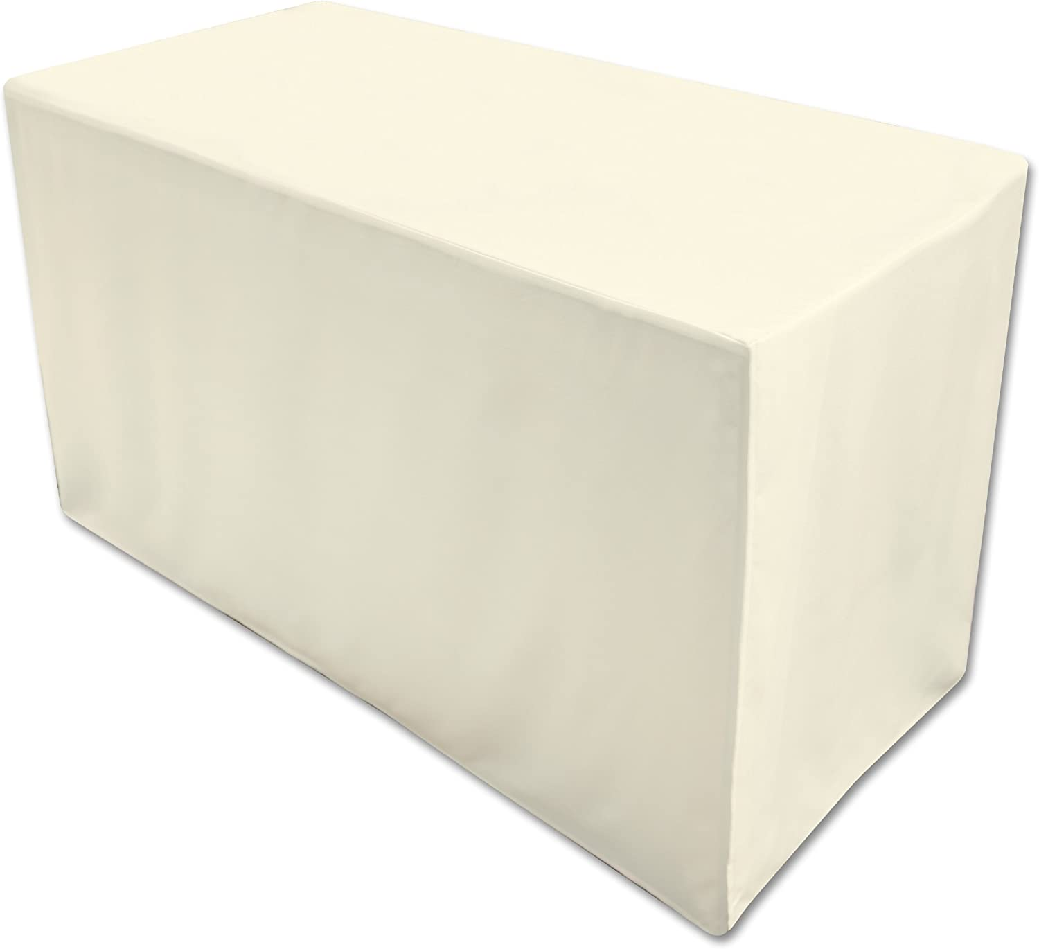 Amazon Com Folding Table Cover Fitted Tablecloth For 6 Foot Folding Table Ivory Home Kitchen