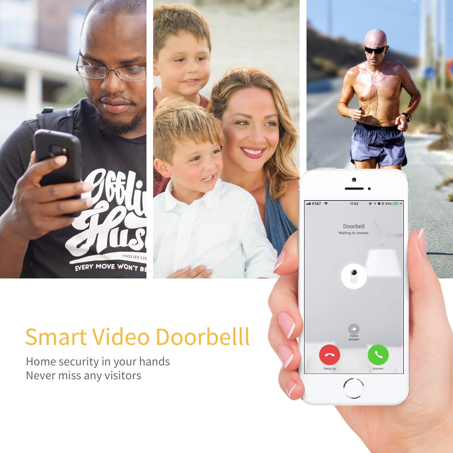Smart Video Doorbell, Famisafe 960P HD WiFi Security Camera Doorbell with Chime, Real-time HD Video Doorbell, 2-Way Audio, Free Cloud Service, Night Vision and Works with Alexa, APP for iOS Android by Famisafe (Image #3)