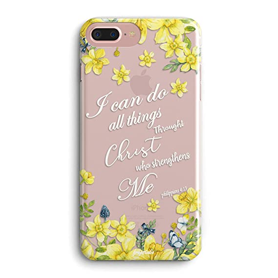 iPhone 6 Plus/iPhone 6s Plus Case,Floral Flowers Bible Verses Inspirational  Girls Women Quotes I Can Do All Things Through Christ Cute Spring Chic ...