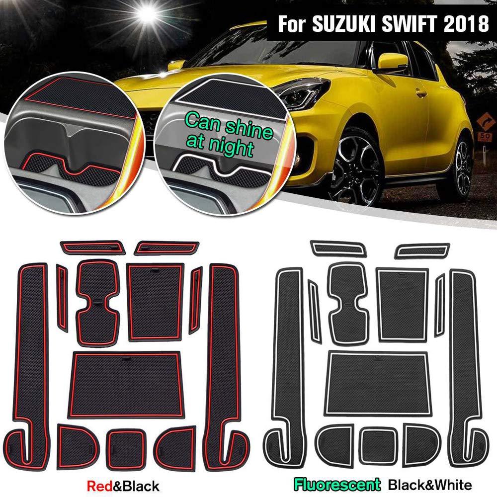 Carrfan 12 PCS Pad De Voiture Centre Console Tapis Anti-poussi/ère Non-Slip Int/érieur Porte Doublure de Rangement Accessoires pour Suzuki Swift 2018