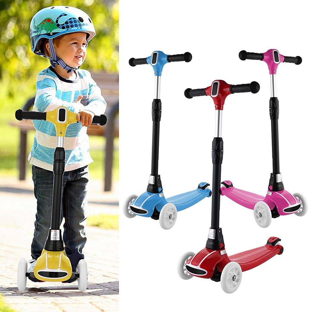 Mewalker 3 Wheel Kids Kick Scooter Folding Pocket Scooter Foldable With Adjustable T-Bar Heights LED Flash Wheels For Child Children Girls Boys (4 Colors,US STOCK)